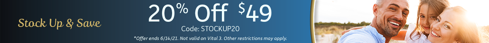 Stock up and Save! 20% off $49 - Code STOCKUP20