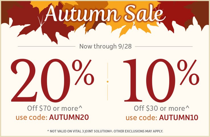 AUTUMN SALE -  Save 20% off $70 or more - Code AUTUMN20 - 10% off $30 or more - Code AUTUMN10