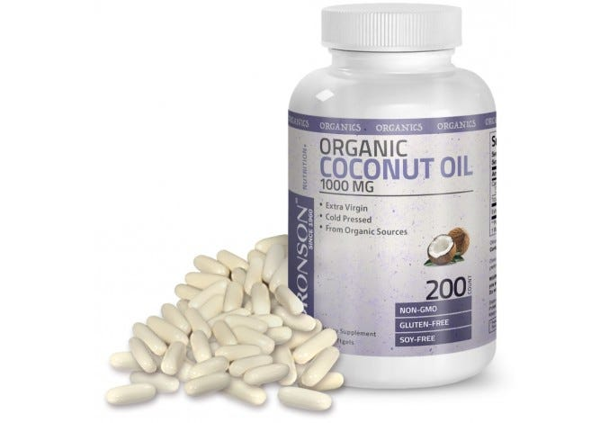 Organic Coconut Oil 1000mg Cold Pressed Extra Virgin Unrefined Non-GMO, Gluten Free, Soy Free, 200 Softgels