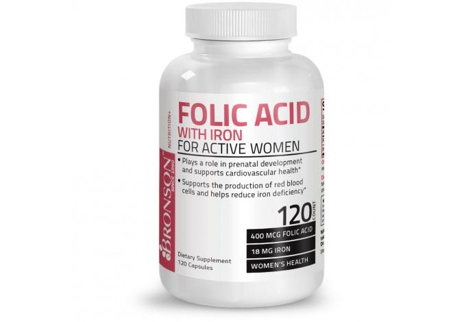 Folic Acid with Iron For Active Women, 120 Capsules