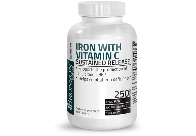 Iron with C Sustained Release, 250 Tablets