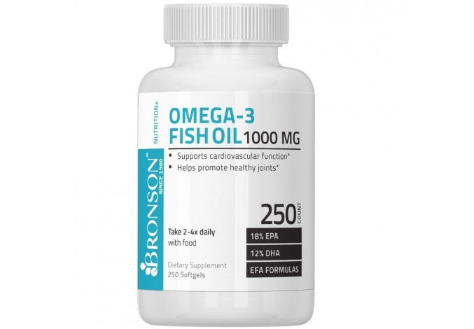 Omega-3 Fish Oil 1000 mg, 250 Softgels