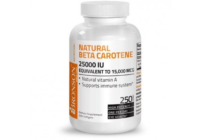 Natural Beta Carotene, 250 Softgels