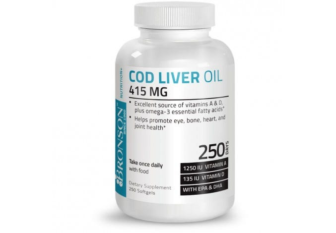 Cod Liver Oil 425 MG, 250 Softgels