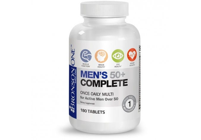Bronson ONE™ Men's 50+ Complete MultiVitamin MultiMineral Complete MultiVitamin for Men 50+ 180 Tablets