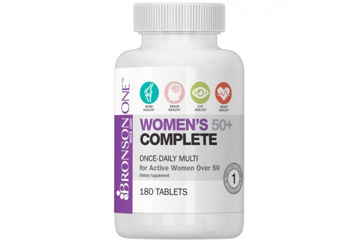 Bronson ONE Women's 50+ Complete MultiVitamin MultiMineral, 180 Tablets