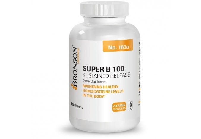 High Potency Super Vitamin B 100 Complex Sustained Slow Release, 100 Tablets