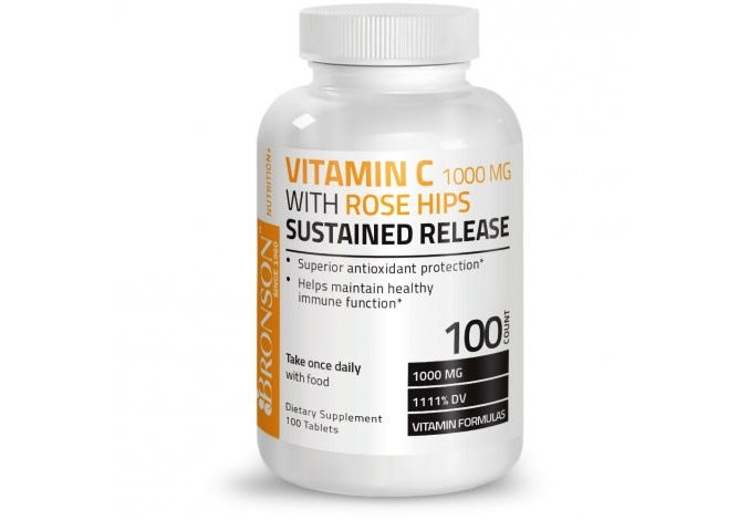 Vitamin C 1000 mg with Rose Hips Sustained Release, 100 Tablets