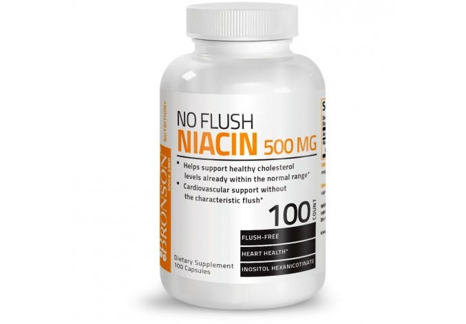 No Flush Niacin (Vitamin B3) 500 mg, 100 Capsules