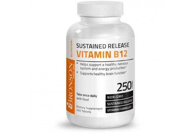 Vitamin B12 Sustained Release Non-GMO Premium Formula, 250 Tablets