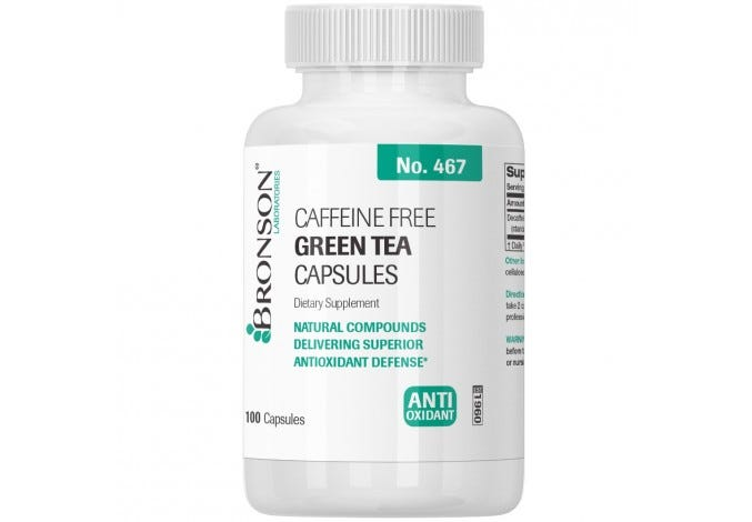 Caffeine Free Green Tea Extract 100 Capsules