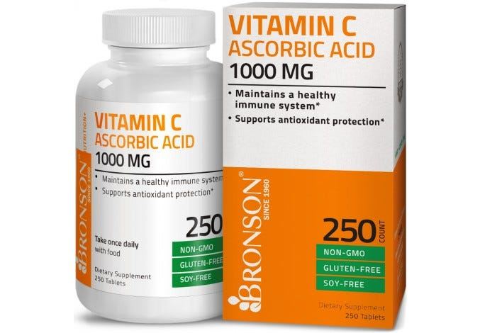 Vitamin C 1000 mg Premium Non-GMO Ascorbic Acid, 250 Tablets