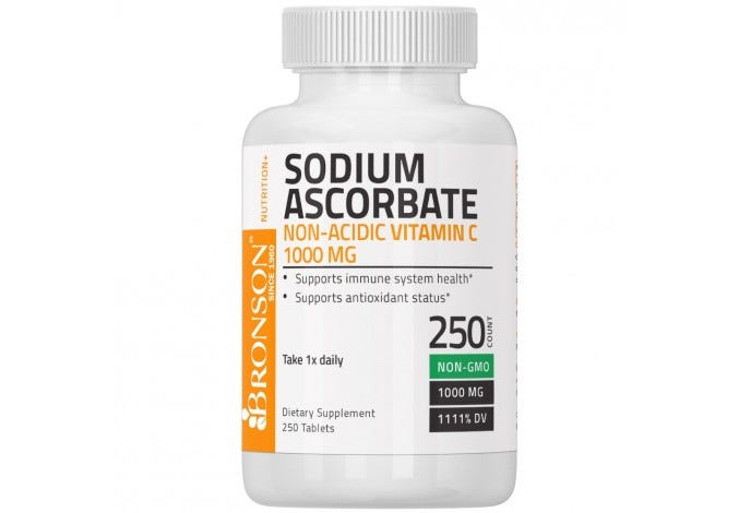 Sodium Ascorbate Non Acidic Vitamin C 1000mg NON-GMO, 250 Tablets