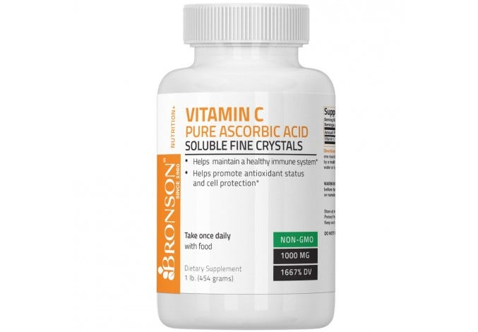 Vitamin C Crystals (Powder) Premium Pure GMO Free Ascorbic Acid , 1 Lbs  (16 Ounces)
