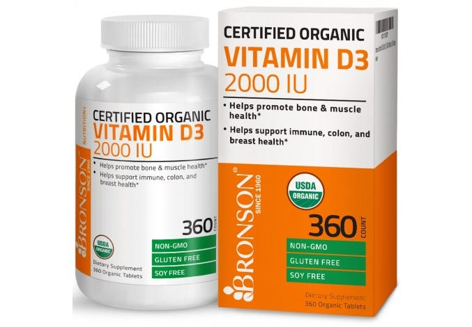 Vitamin D3 2000 IU USDA Certified Organic, 360 Tablets