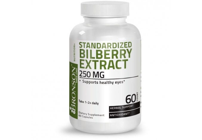 Standardized Bilberry Extract 250 mg, 60 Capsules