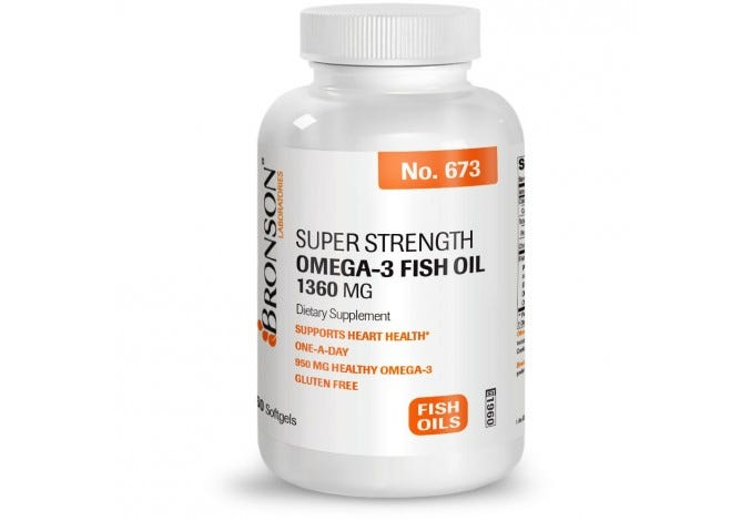 Super Strength Omega-3 Fish Oil 1360 mg, 60 Softgels