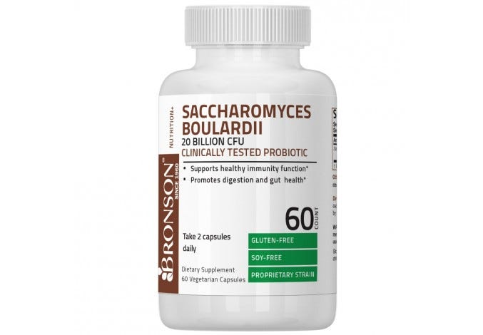 Saccharomyces Boulardii 20 Billion CFU Clinically Tested Probiotic, 60 Vegetarian Capsules