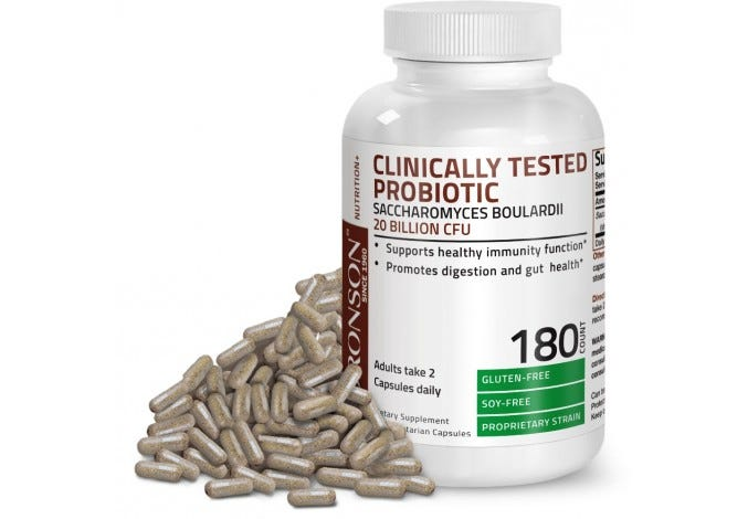 Saccharomyces Boulardii 20 Billion CFU Clinically Tested Probiotic, 180 Vegetarian Capsules