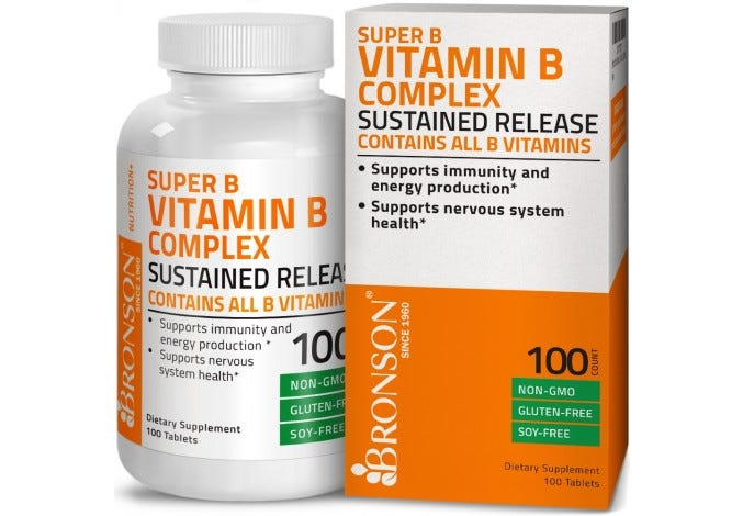 Vitamin B Complex Sustained Slow Release (Vitamin B1, B2, B3, B6, B9 - Folic Acid, B12), 100 Tablets