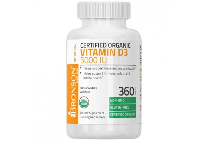 Vitamin D3 5000 IU USDA Certified Organic, 360 Tablets