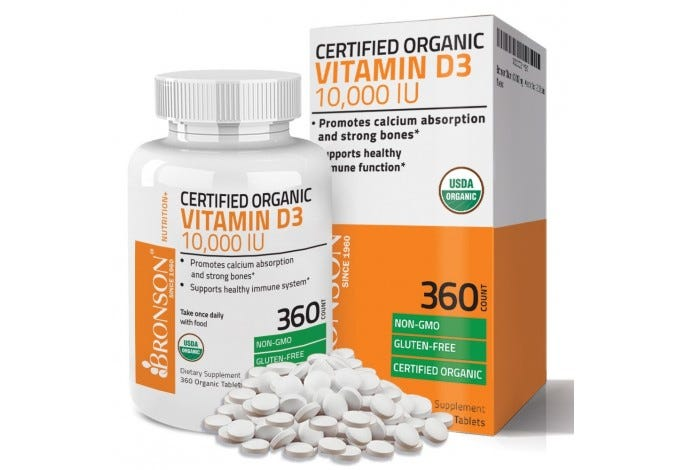 Vitamin D3 10,000 IU USDA Certified Organic High Dose Vitamin D Supplement, 360 Tablets
