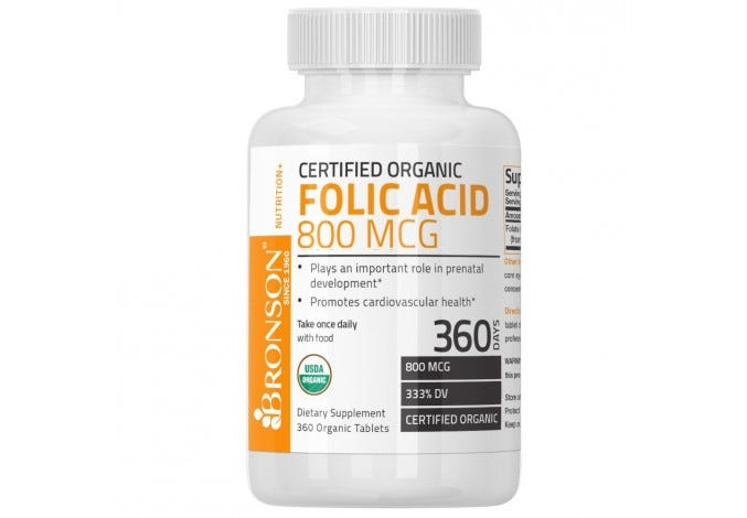 Organic Folic Acid, USDA Certified & Vegetarian Organic Folate, 360 Tablets