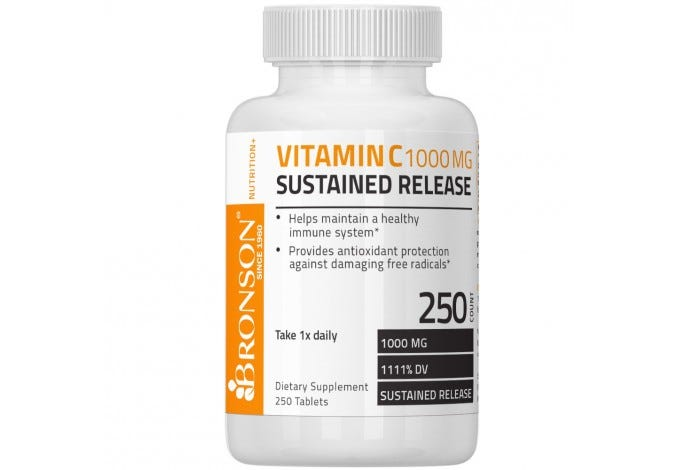 Vitamin C 1000 mg Sustained Release Premium Non-GMO Ascorbic Acid, 250 Tablets