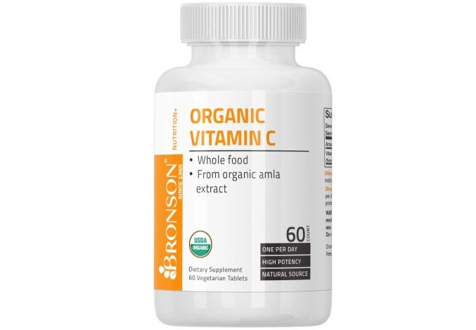 USDA Certified Organic Vitamin C, 60 Tablets