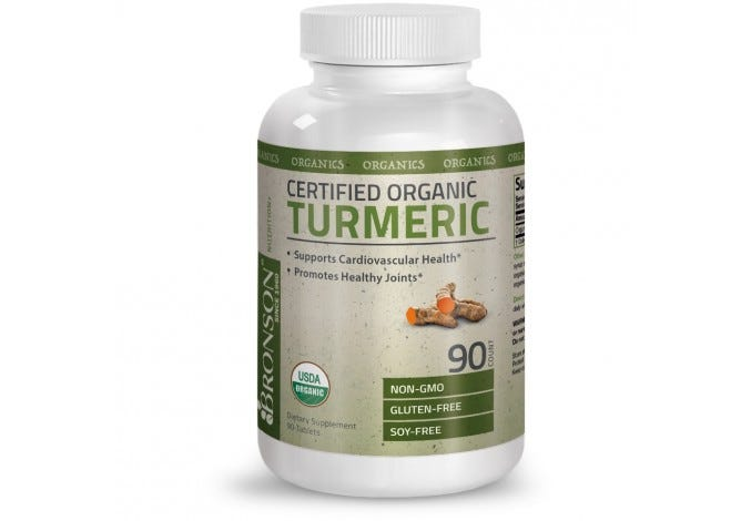 Certified Organic Turmeric Non-GMO, Gluten Free, Soy Free, 90 Tablets