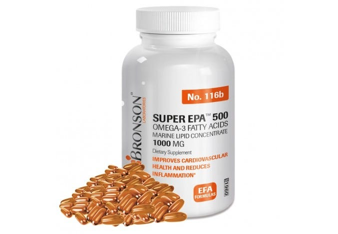 Super EPA 500, Omega 3 Marine Lipid Concentrate, 1000MG - 250 Softgels