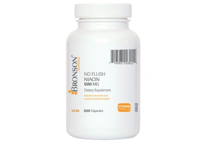 No Flush Niacin (Vitamin B3) 500 mg - 200 Capsules