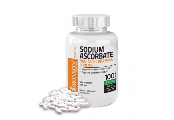 Sodium Ascorbate Non Acidic Vitamin C 1000mg NON-GMO, 100 Tablets