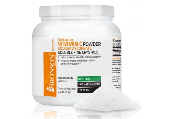 Vitamin C Crystals Non-Acidic Sodium Ascorbate Soluble Fine Crystals Vitamin C Powder, 2.2lbs