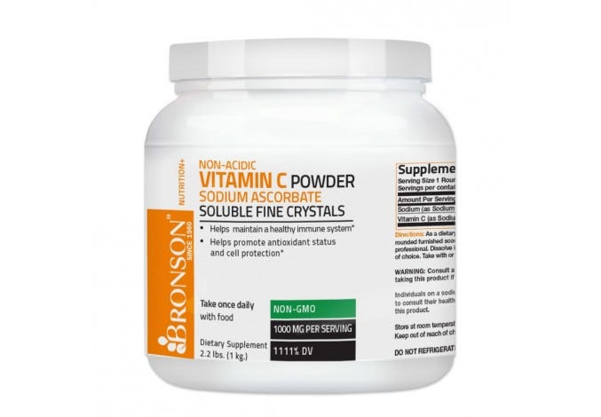 Vitamin C Crystals NON-GMO Non-Acidic Sodium Ascorbate Soluble Fine Crystals Vitamin C Powder, 2.2lbs