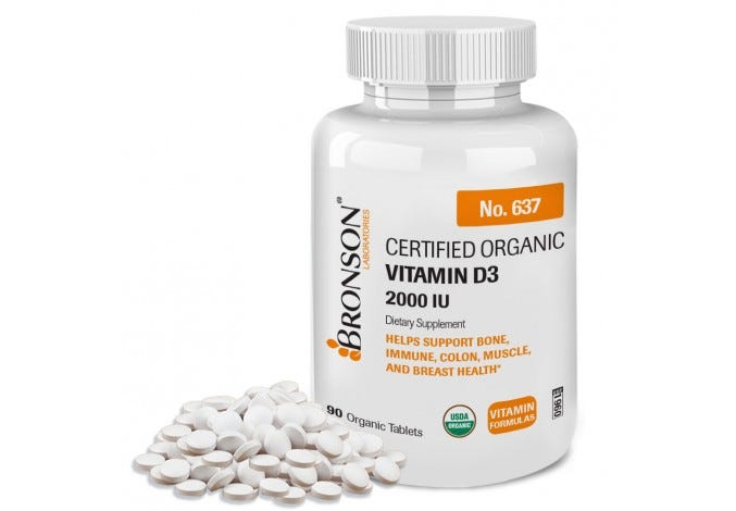 Vitamin D3 2000 IU USDA Certified Organic, 90 Tablets
