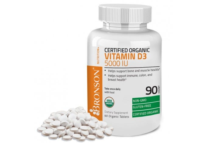 Vitamin D3 5000 IU USDA Certified Organic, 90 Tablets