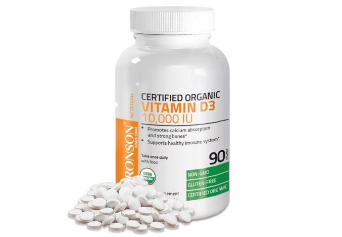 Vitamin D3 10,000 IU USDA Certified Organic High Dose Vitamin D Supplement, 90 Tablets
