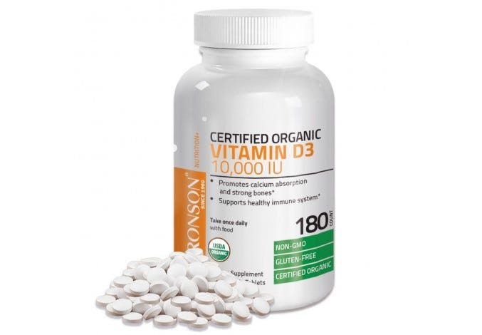 Vitamin D3 10,000 IU USDA Certified Organic High Dose Vitamin D Supplement, 180 Tablets