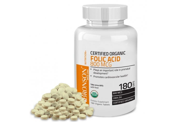 Organic Folic Acid, USDA Certified & Vegetarian Organic Folate, 180 Tablets