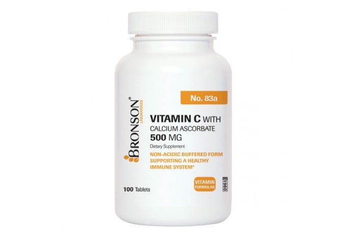Vitamin C 500 mg Buffered with Calcium Ascorbate, 100 Tablets