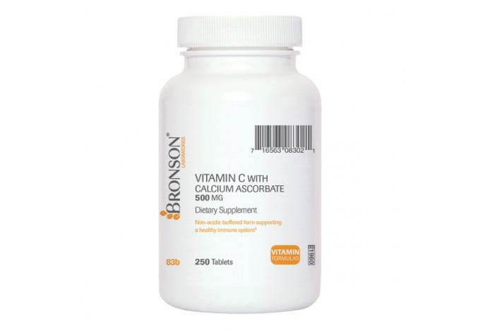 Vitamin C 500 mg Buffered with Calcium Ascorbate, 250 Tablets