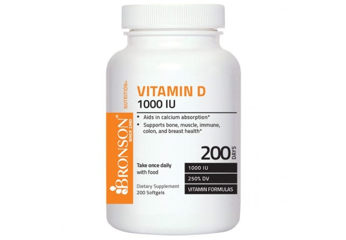 Vitamin D3 1000 IU, 200 Softgels