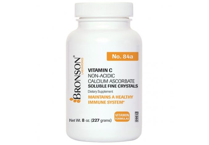 Vitamin C Non-Acidic Calcium Ascorbate Soluble Fine Crystals, 8 oz.